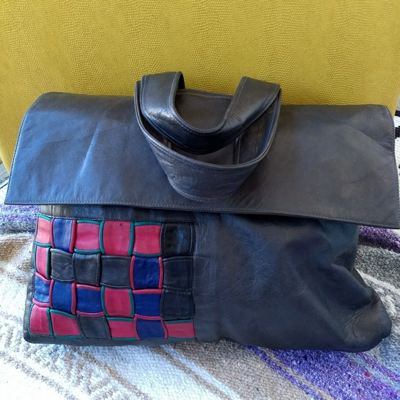 Vintage Handbags - Vintage Italian leather Gianfranco Lotti bag woven